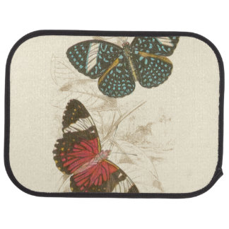 Sepia Leaves with Colorful Butterflies Car Mat