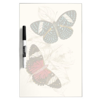 Sepia Leaves with Colorful Butterflies Dry Erase Board