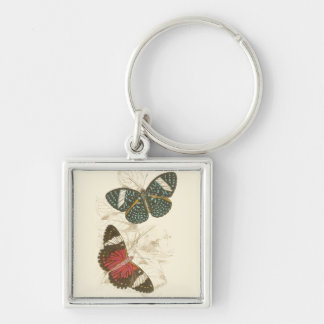 Sepia Leaves with Colorful Butterflies Key Ring