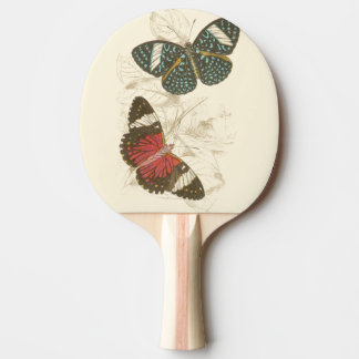 Sepia Leaves with Colorful Butterflies Ping Pong Paddle