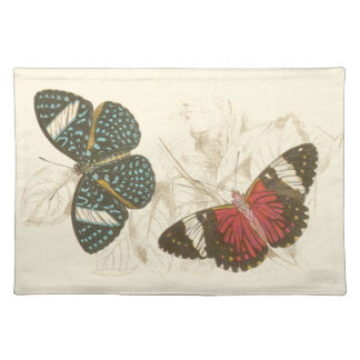 Sepia Leaves with Colorful Butterflies Placemat
