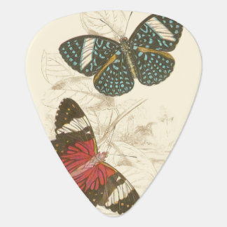 Sepia Leaves with Colorful Butterflies Plectrum