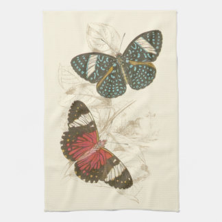 Sepia Leaves with Colorful Butterflies Towels