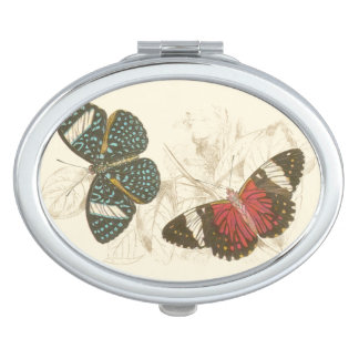 Sepia Leaves with Colorful Butterflies Vanity Mirror