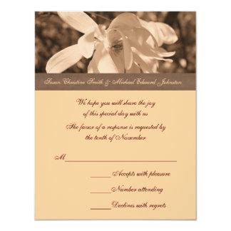 Sepia Magnolia Flower Wedding Response RSVP Card