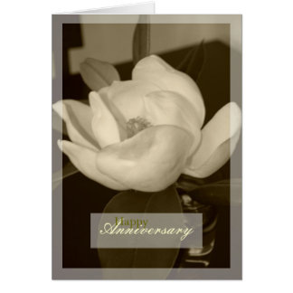 """Sepia Magnolia"" Happy Anniversary Blank Card"