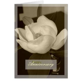 """Sepia Magnolia"" Happy Anniversary Blank Note Card"