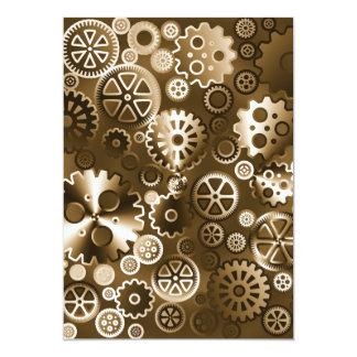 Sepia metallic gears 13 cm x 18 cm invitation card