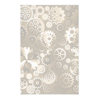 Sepia metallic gears stationery design