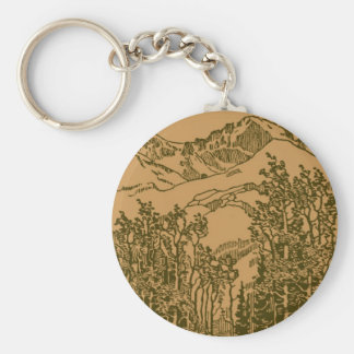 Sepia Mountains and  Forest Keychain