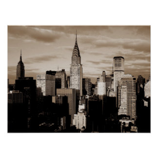 Sepia New York City Ink Sketch Poster