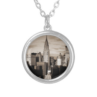 Sepia New York City Ink Sketch Silver Plated Necklace