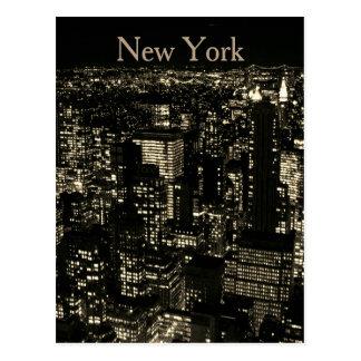 Sepia New York City Night Skyline Postcard