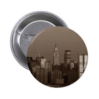 Sepia New York City Skyline 6 Cm Round Badge