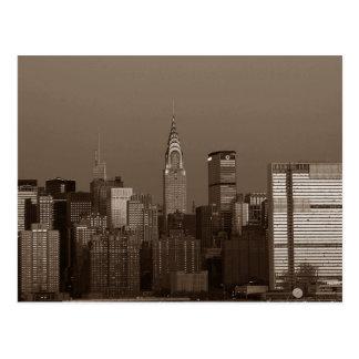 Sepia New York City Skyline Postcard