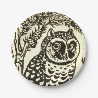 Sepia Owl Design Paper Plates Fall Halloween Woods