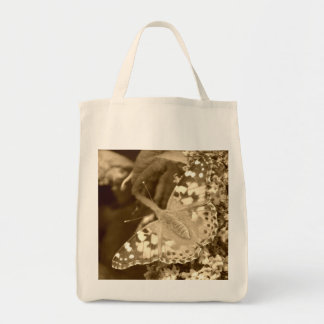Sepia Painted Lady Butterfly Grocery Tote Bag