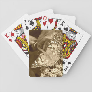 Sepia Painted Lady Butterfly Playing Cards