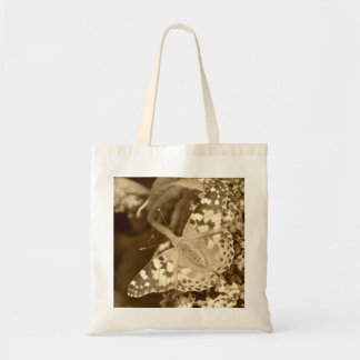 Sepia Painted Lady Butterfly Budget Tote Bag