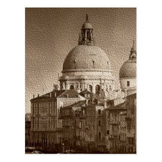 Sepia Paper Effect Venice Grand Canal Postcard