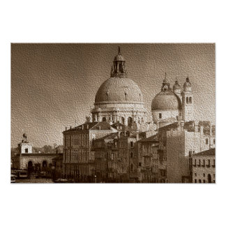 Sepia Paper Effect Venice Grand Canal Poster