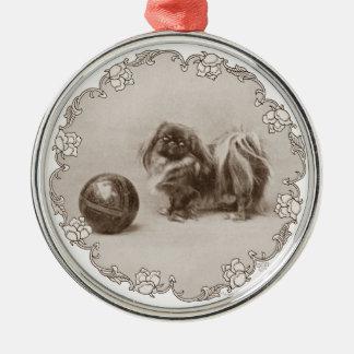 Sepia Pekingese Portrait Christmas Ornament