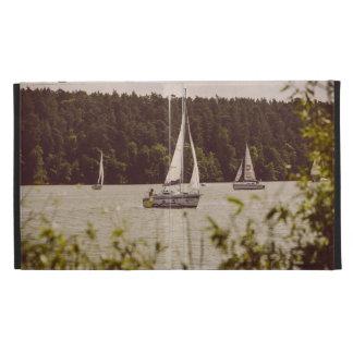 Sepia Photograph Of Sailboats On A Lake iPad Folio Cases