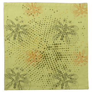 Sepia retro pattern with butterflies napkin