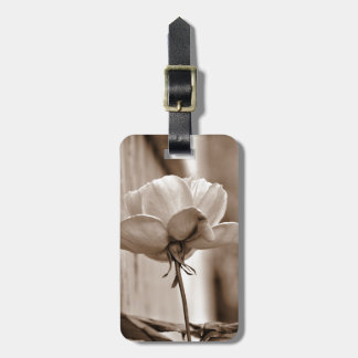 Sepia Rose Flower Photo Design Tags For Bags