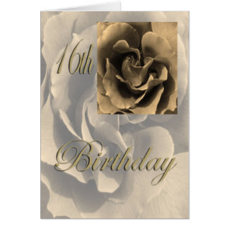 Sepia Rose Happy 16th Birthday Greeting Card