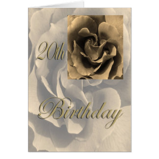 Sepia Rose Happy 20th Birthday Greeting Card