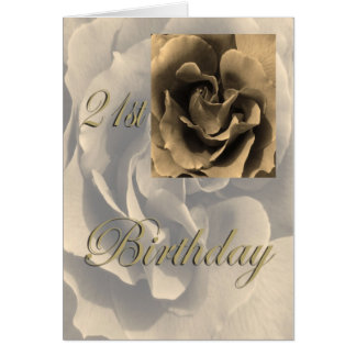 Sepia Rose Happy 21st Birthday Greeting Card