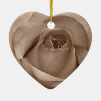 sepia rose heart ornament