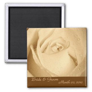 Sepia Rose Square Magnet