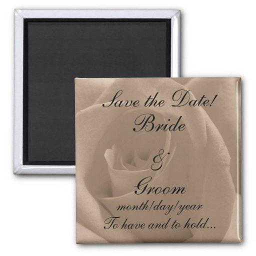 Sepia Rose Save the Date! Square Magnet