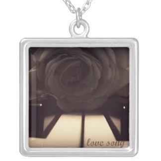 Sepia Rose Square Pendant Necklace