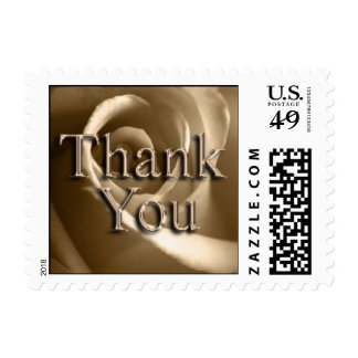 Sepia Rose Thank You Wedding Postage Stamp