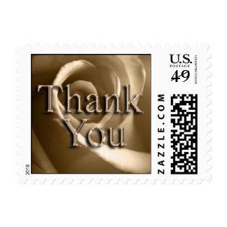 Sepia Rose Thank You Wedding Postage Stamp