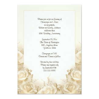 Sepia Roses 50th Anniversary Dinner Invitation