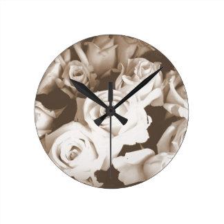 Sepia Roses Round Clock