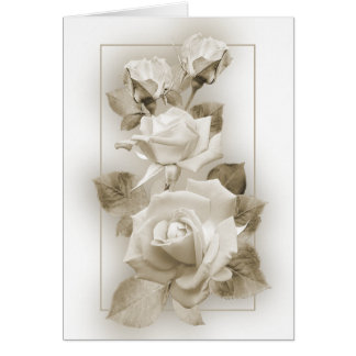 Sepia Roses Greeting Card