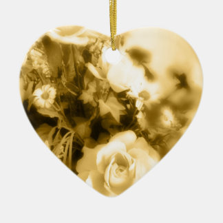 Sepia Roses Photography Ceramic Heart Decoration