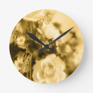 Sepia Roses Photography Round Wall Clock