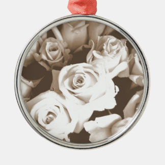 Sepia Roses Silver-Colored Round Decoration