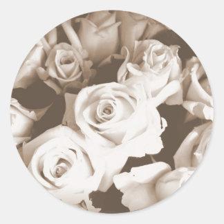 Sepia Roses Round Sticker