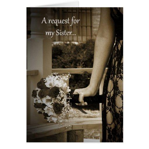 Sepia SIster Bridesmaid request Card