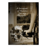 """Sepia Sister """"Maid of Honour"""" Bouquet Thank You Greeting Card"""