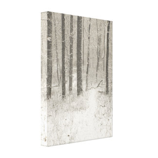 Sepia Snow Scene Canvas Prints