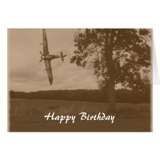 Sepia Spitfire Happy Birthday Card
