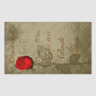 Sepia Spot Color Red Rosebud Wedding Wine2 Rectangular Sticker